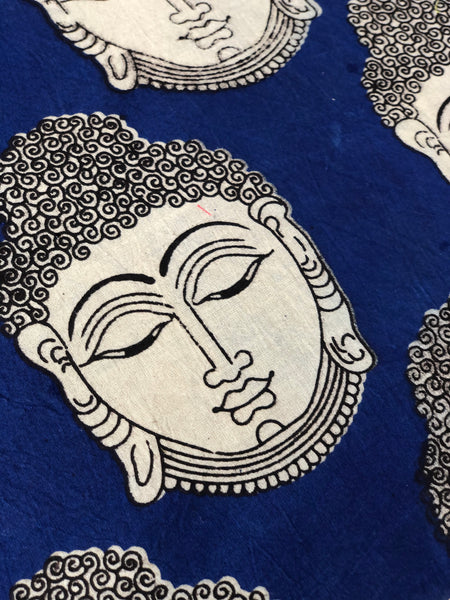 Blue and Beige Buddha Cotton Kalamkari Fabric.
