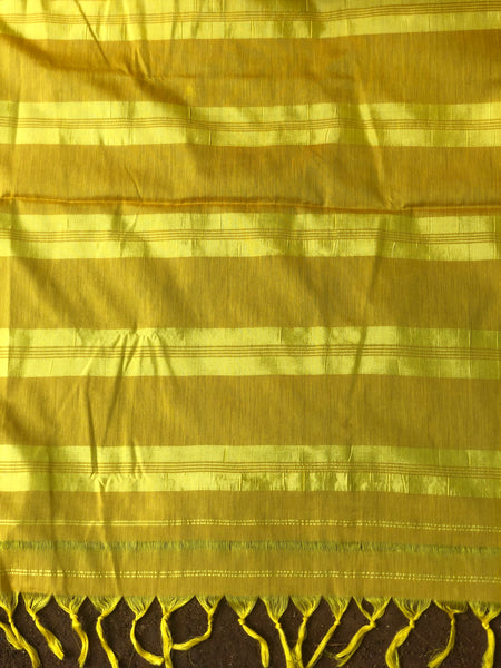 | Mango Mousse | Yellow Mercerised Soft Cotton Saree With Contrast Temple Style Border.