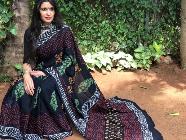 | Kalbalia | Black Sanganeri Print Mul cotton saree.
