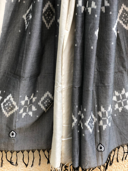 Pochampally Double Ikat Dupatta With Embroidery Unstitched Suit Set