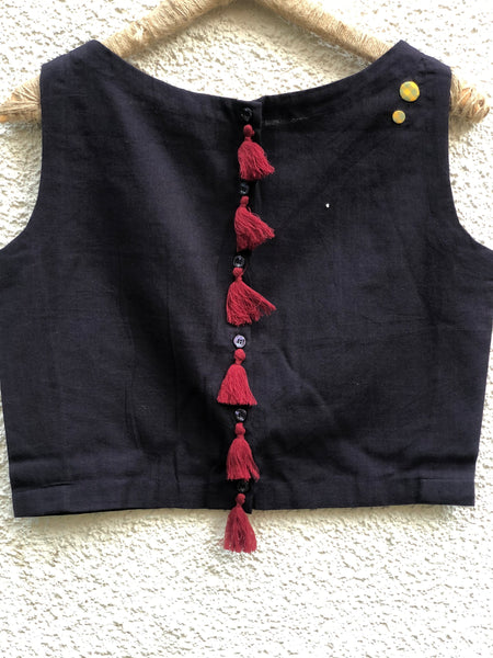 Black Sleeveless ready to wear cotton Blouse with tassels and button detailing on the shoulder