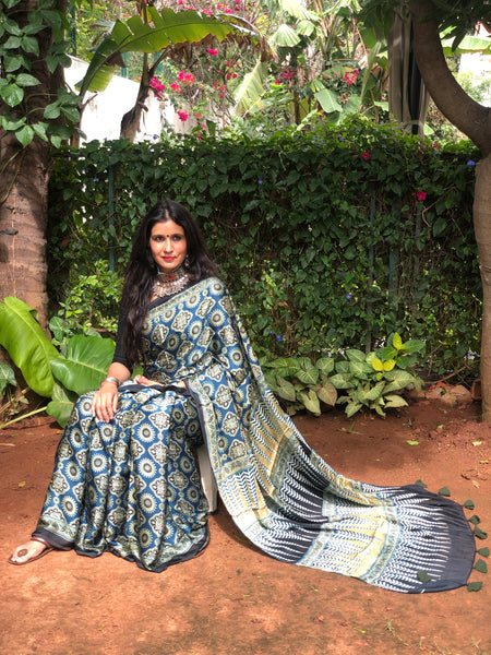 Indigo Modal silk vegetable dyed Ajrakh saree.