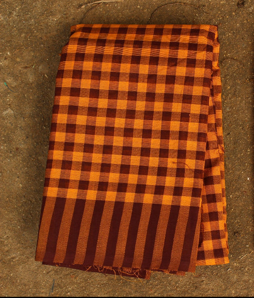 Checked Brown and Mustard Cotton Saree.