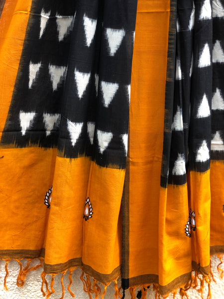 Mustard And Black  Pochampally Double Ikat Dupatta Unstitched Suit Set