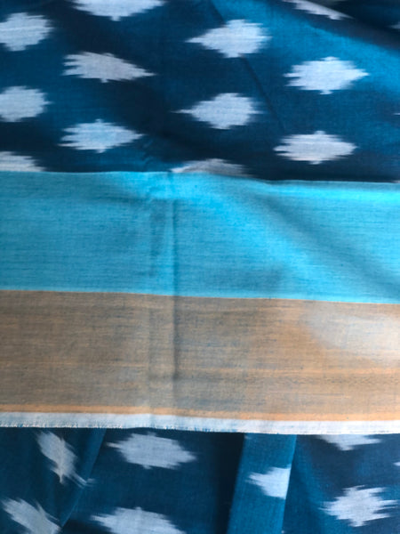 | Ocean | Pure  Handwoven Pochampally Single Ikat Cotton Saree