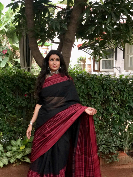 | Gunjan | Black Handloom mark' handwoven begumpuri saree with naksha paar.