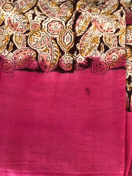 | Subhadra | Pink soft hand block printed cotton Kalamkari Saree.