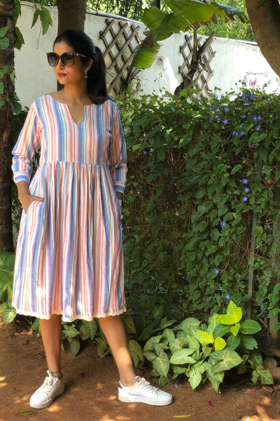 Multi Colored Stripped White Cotton Midi Dress with Crochet Lace