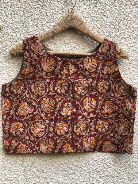 Kalamkari Sleeveless ready to wear cotton Blouse with tassels .