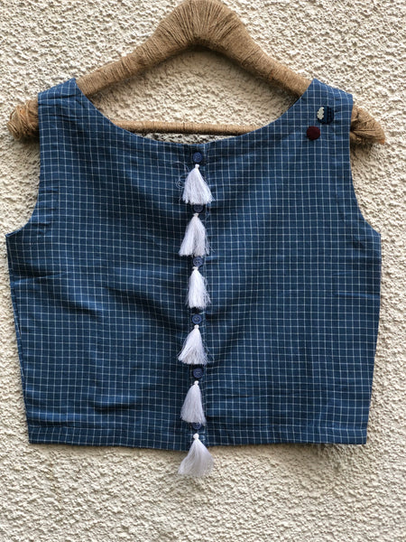 Blue Checked Sleeveless ready to wear cotton Blouse with tassels and button detailing on the shoulder