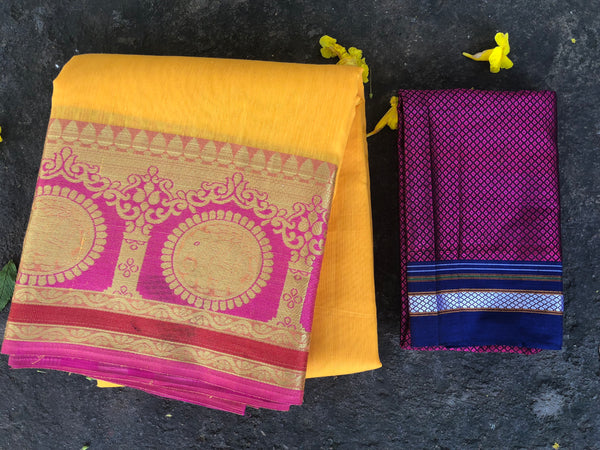 Yellow Chanderi Cotton Saree With Embroidered Border.RK-CHN6-C30