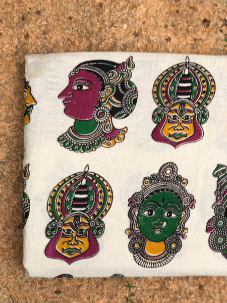 Beige Kathakali Masks Cotton Kalamkari Fabric.