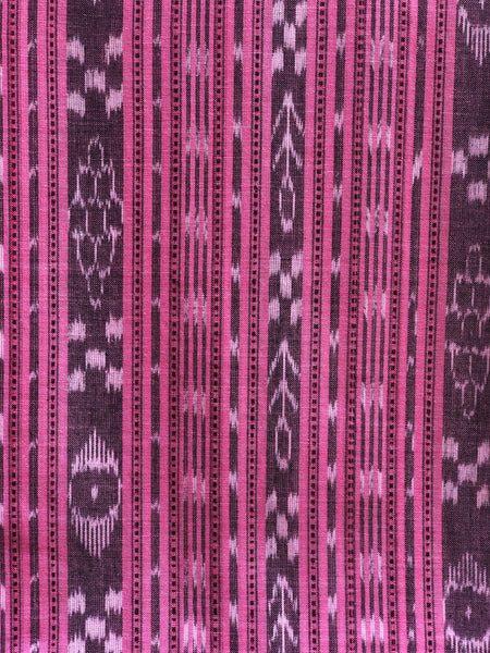 Pink  Sambalpuri Ikat Unstitched Suit Set