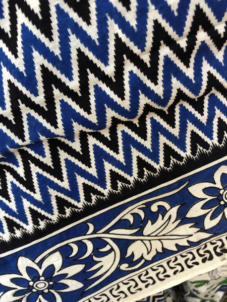 | Blue Jig | Blue kalamkari cotton saree with border.