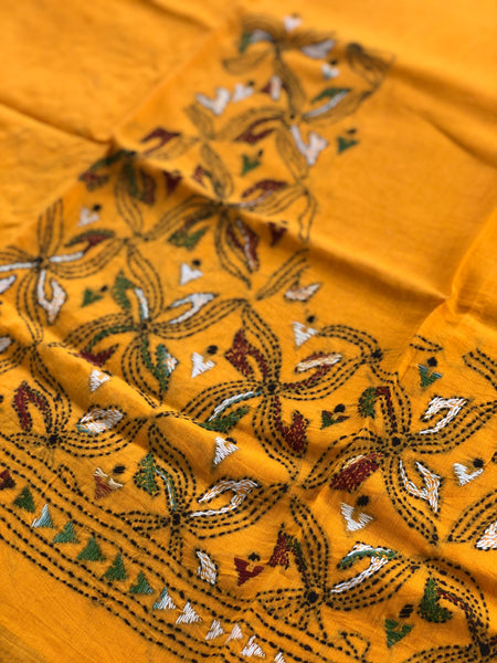 Mustard Hand stitched kantha blouse fabric. BH-KAN-5