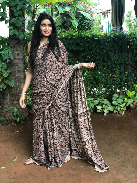 |Primrose | Floral Overall kalamkari saree with thin border.