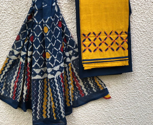 Mustard Indigo Unstitched Suit Set