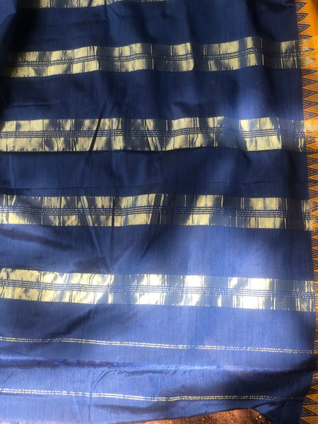 | Overcast Skies | Blue Mercerised Soft Cotton Saree With Contrast Temple Style Border.