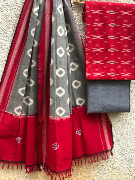 Pochampally Double Ikat Dupatta Unstitched Suit Set