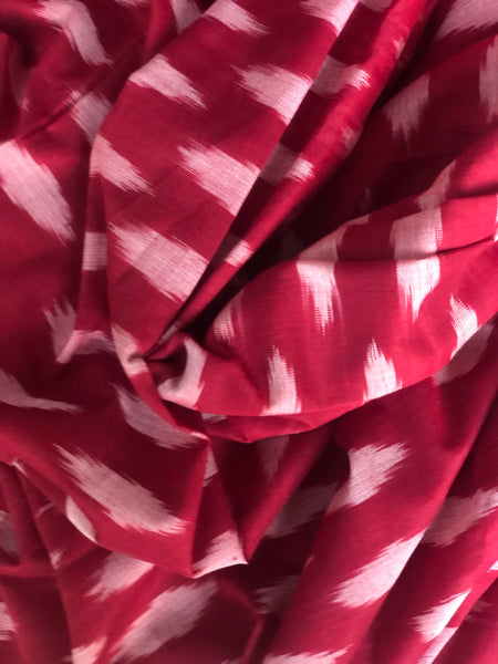 | Red Rose | Pure  Handwoven Pochampally Single Ikat Cotton Saree