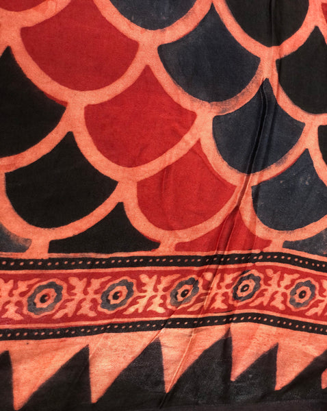 Madder Modal silk vegetable dyed Ajrakh dupatta.
