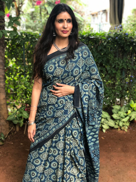 | Topaz | Blue Handwoven vegetable dyed Ajrakh mul cotton saree.