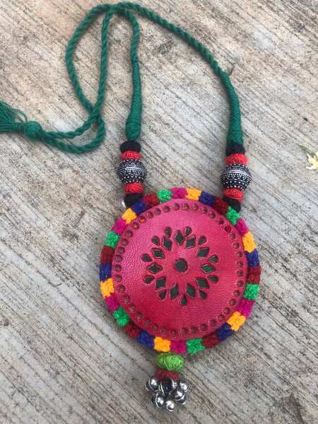 Adjustable kutch leather work necklace