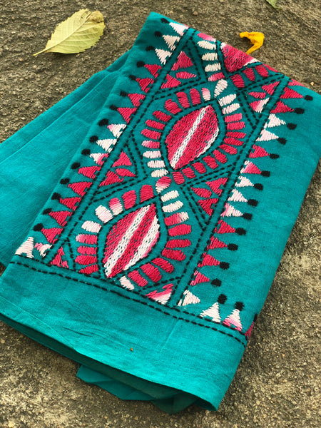 Sea Green Hand stitched kantha blouse fabric. BH-KAN-1