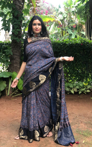 Indigo vegetable dyed Ajrakh Silk saree with zari border.