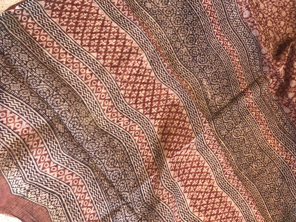 Red Bagru Hand Block Print Kota Doria Saree TCB-DOR3-KT1-The Chalk Boutique