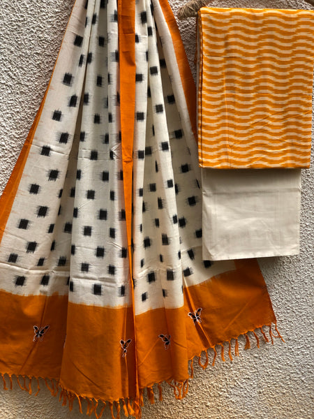 Mustard And Off White Pochampally Double Ikat Dupatta With Embroidery Unstitched Suit Set