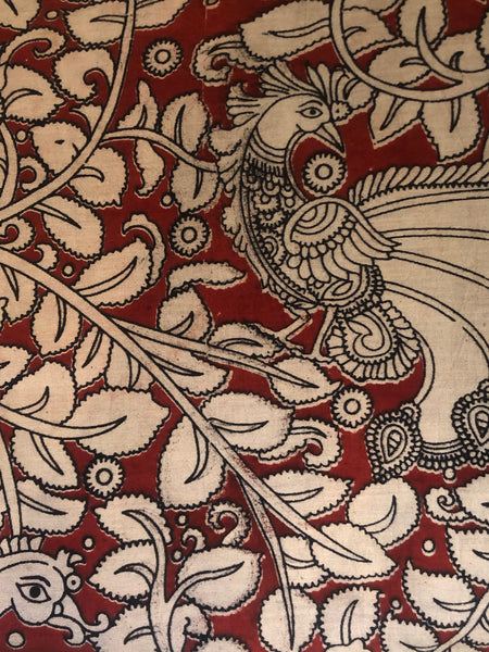 Red peacock overall Hand Block Printed Cotton Kalamkari Fabric.