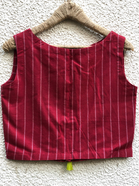 Red Stripes Sleeveless ready to wear cotton Blouse with tassels and button detailing on the shoulder