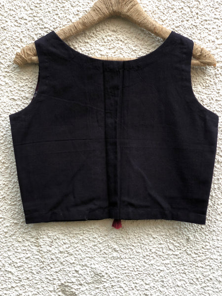 Black Sleeveless ready to wear cotton Blouse with tassels .