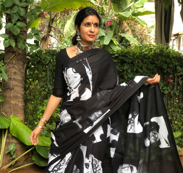 | Mumbai Matinee |  Printed mul cotton saree .