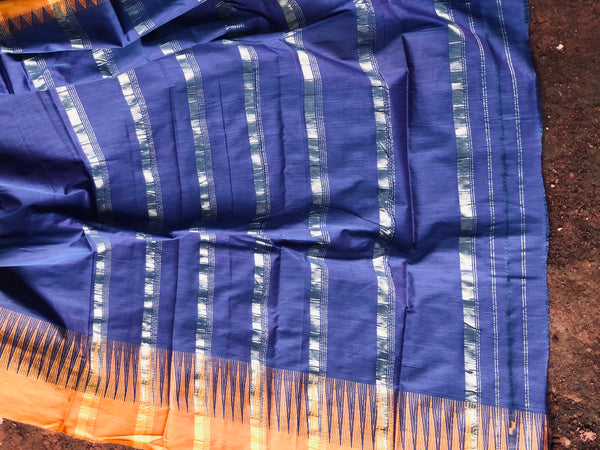 |Love-in-a-mist | Indigo with mustard border  Mercerised Cotton Saree.