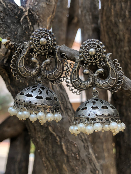 German Silver Jaali Jhumka Earrings