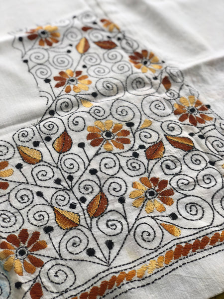 White Hand stitched kantha blouse fabric. BH-KAN-4
