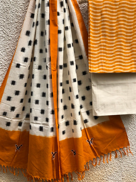 Mustard And Off White Pochampally Double Ikat Dupatta Unstitched Suit Set