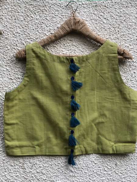Lime Green Sleeveless ready to wear cotton Blouse with tassels .