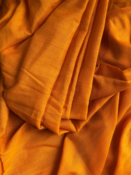 | Saffron & Strawberries | Orange Mercerised Soft Cotton Saree With Contrast Temple Style Border.