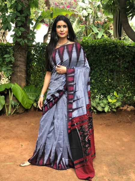 | Elated | Grey handwoven sambalpuri kargil saree.