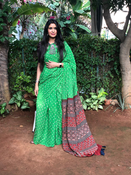 | Green Apple | Green with Red vegetable dyed tie and dye ajrakh mul cotton saree .