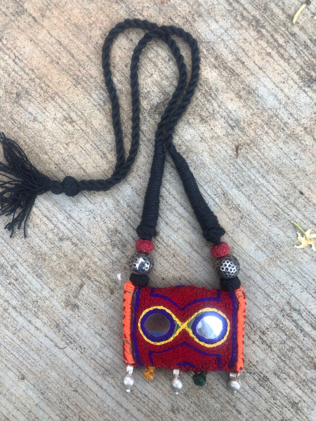 Adjustable banjara mirror work necklace