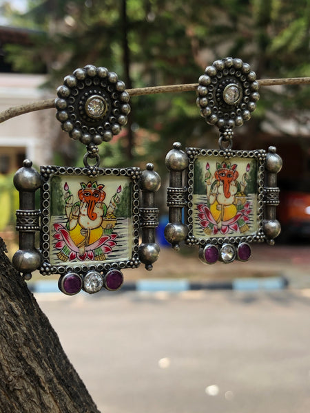 Ganesha German Silver Fusion Earrings