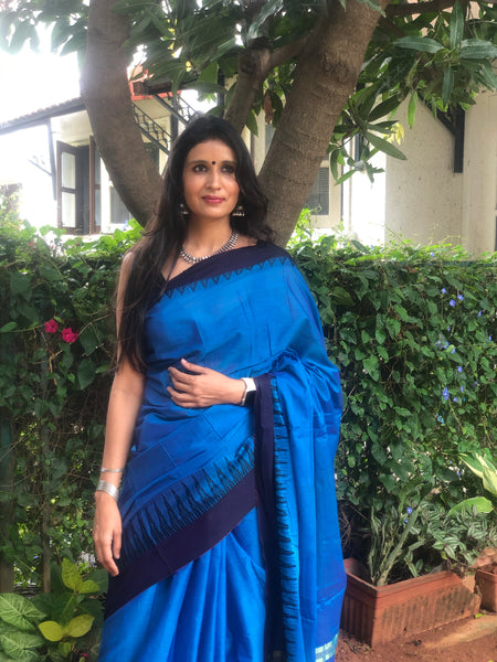| Lakeside | Blue Mercerised Soft Cotton Saree With Contrast Temple Style Border.
