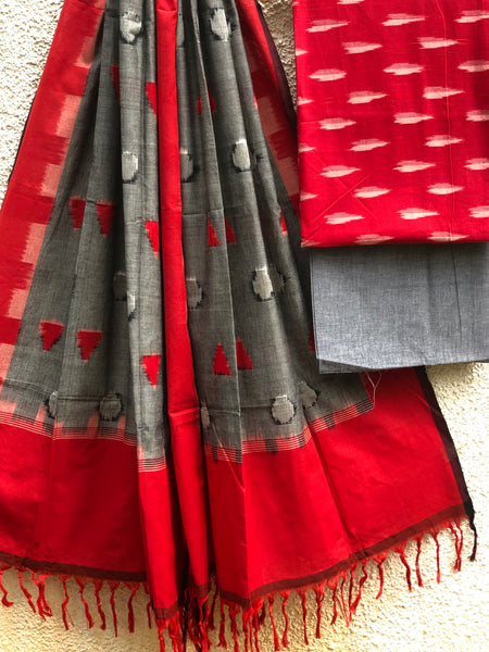 Red  And Grey Pochampally Double Ikat Dupatta Unstitched Suit Set