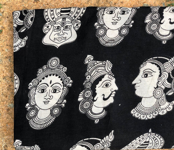 Black Kathakali Masks Cotton Kalamkari Fabric.