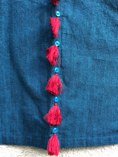 Blue Sleeveless ready to wear cotton Blouse with tassels .