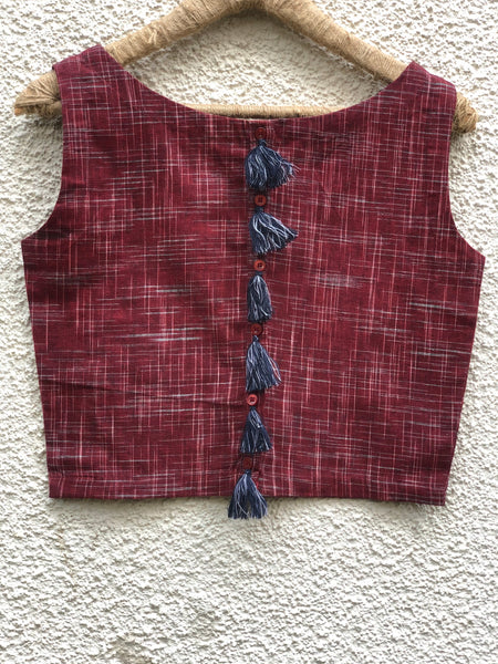 Maroon  Sleeveless ready to wear cotton Blouse with tassels .
